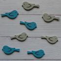Pack of 8 wooden bird embellishments 4 blue & 4 grey, as shown