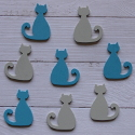 Pack of 8 wooden cat embellishments 4 blue & 4 grey, as shown
