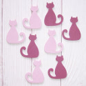 Pack of 8 wooden cat embellishments 4 pink & 4 purple, as shown