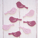 Pack of 8 wooden bird embellishments 4 pink & 4 purple, as shown