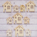 Pack of 10 Wooden House shape embellishments, natural wood, 4 large & 6 small, as shown