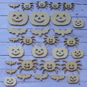 Pack of 30pc Natural Wooden Halloween shapes, Bat, Spider, Pumpkin, 3 sizes