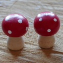 Set of 2 Small Wooden Toadstool
