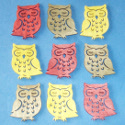 Pack of 9 Wooden Owl Shapes, colours as shown