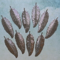 Pack of 10  silver colour metal leaf / feather decorations with hole to hang