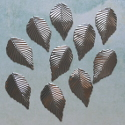 Pack of 10 silver colour metal leaf shape decorations with hole to hang