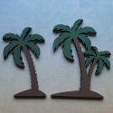 2 Wooden Palm Tree shape decorations, as shown ( stands available see item SA35)