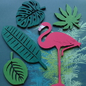 Wooden Tropical 5pc set  of Leaves and Flamingo as shown ( stands available see item SA35)