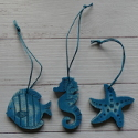 Set of 3 Wooden Hanging decorations Seahorse, Starfish and Fish, blue, with blue string hanger,