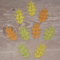 Pack of 9 Wooden Leaf Shapes large, colours as shown