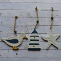 Set of 3 wooden Hanging shapes Seagull, Starfish, Lighthouse, as shown with string hanger & bead