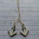 Set of 2 Wooden Anchor Hanging Decorations, as shown with string hanger