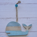 Painted Whale Hanging Decoration, with string & bead hanger