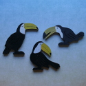 Set of 3 wooden Toucan bird decorations, wooden stands available (see item SA35)