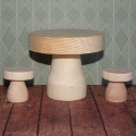 Wooden Mushroom / Toadstool Table and 2 Stools  Decorations