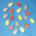 Pack of 18 Wooden Leaf Shapes, small, colours as shown