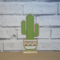 Wooden Cacti Standing Decoration on Plinth, as shown
