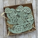 Box of 16pc Pale green wooden snail shapes, 8 small, 4 medium, 4 largel