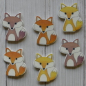 Pack of 6 Wooden Fox Card topper decorations as shown