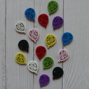 Pack of 16 fretwork  Wooden Balloon embellishments, colours as shown