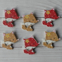 Pack of 6 Wooden Spotty Fox embellishments, colours as shown