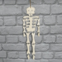 Plywood hanging Skeleton with black outline detail, joints wired, and string for hanging