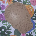 MDF Skull Plaque with laser cut design to colour, Large
