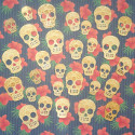 Pack of 30pc plywood Skull with laser engraved pattern to colour, 10 each of 3 sizes