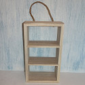 Wooden Hanging shelf unit with 3 compartments & rope hanger