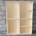Plywood Shelf unit with 6 compartments & hooks for hanging portrait or landscape