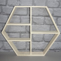 Wooden Hexagonal Shelf display stand with 5 Compartments as shown, plywood