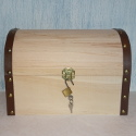 Large Pine Treasure Chest with Leather Look Trim, Clasp & Padlock