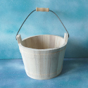 Wooden Bucket with metal Handle Large