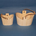 Set of 2 Wooden Buckets with String & Wood Handles