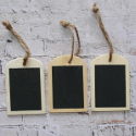 Set of 3 Painted Blackboard Label / Gift Tag, with String ties