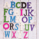 Pack of 26 wooden Alphabet Letters in assorted colours, as shown