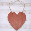 Plywood Heart shape plaque with natural jute string to hang