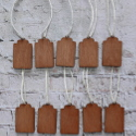 Set of 10 scalloped top Vintage style plywood tags / labels