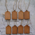 Set of 8 scalloped top vintage style plywood tags/ labels with jute string