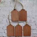 Set of 5 Vintage Style scalloped top plywood tags / labels with Jute string