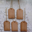 Set of 5 Vintage Style Plywood Gift tag / labels with Jute String