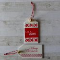 Set of 2 wooden Christmas gift tag labels red and white with bell and string tie