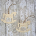 Set of 2 Wooden Rocking Horse Christmas Decorations to hang