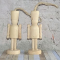 Set of 2 Wooden Soldier / Nutcracker style Christmas Decorations to hang