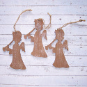 Set of 3 wooden Angel Christmas decorations with white painted snow effect , and  string to hang