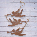 Set of 3 wooden Flying  Angel Christmas decorations with white painted snow effect , and  string to hang