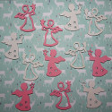 Pack of 12 wooden Christmas  Angel Card topper embellishments 6 each of pink and white, as shown