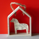 Scandinavian Folk Style Wooden Horse Decoration with string to hang