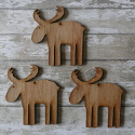 Set of 3 wooden Reindeer shape Christmas Decorations with hole to hang