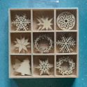 Box 27pc of Wooden Christmas Card Topper Embellishments, 3 each of 9 designs, as shown